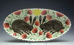 Sue Tirrell Medium Platter. Brown Rabbits and Poppies
