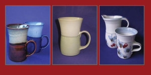 David and Felicity porcelain mugs. reduction fired to cone 12