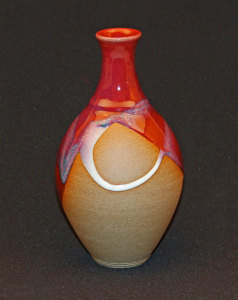David and Felicity stoneware vase - 220mm tall, copper red and wood ash pours on smooth fine body. reduction fired to cone 12