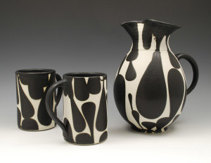 Sam Scott Black and White Pitcher with Mugs- 10in tall