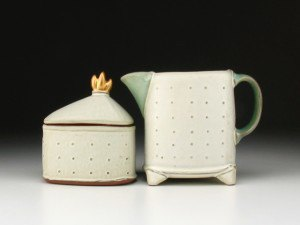 Sarah Pike Cream & Sugar with Gold Handle