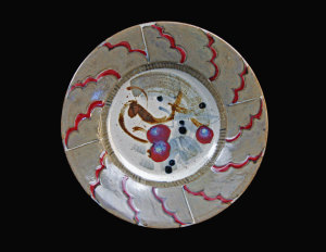 Podcasts David and Felicity stoneware plate - 380mm diam, off white glaze, brush decoration using various oxides and slips, reduction fired to cone 12
