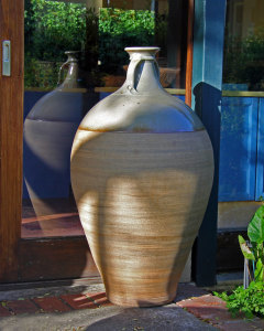 Podcasts David and Felicity stoneware wine jar (amphora), grey green glaze top and unglazed body, 1 200mm tall, reduction fired to cone 12